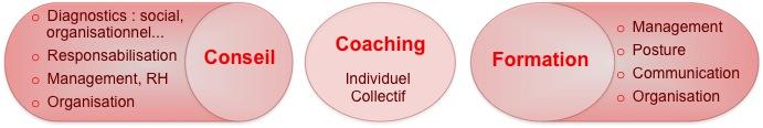 Les 3 leviers d'actions : Conseil (diagnostic social organisationnel, responsabilisation, management RH, organisation), Coaching individuel et collectif, Formation au management, à la posture, au lien managérial, à l'organisation
