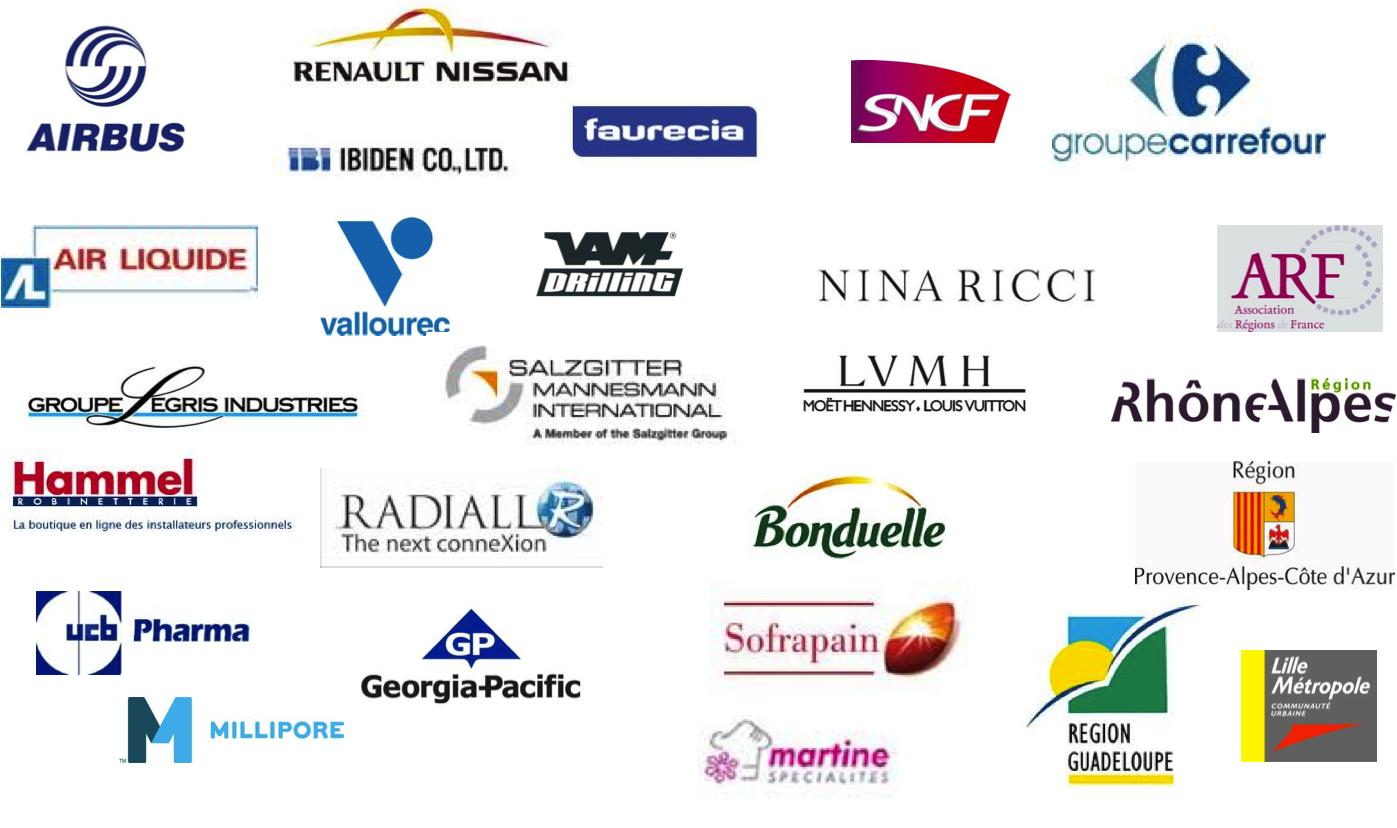 Airbus, Renault Nissan, Vallourec, Salzgitter Manesmann, SNCF, Faurecia, UCB PHarma, Millipore, Sofrapain, Martine spécialités, Région Guadeloupe, Région Rhônes Alpes, Bonduelle