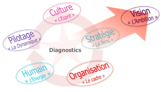 Système de fonctionnement de l'entreprise : Vision, stratégie, organisation, l'humain, pilotage, culture